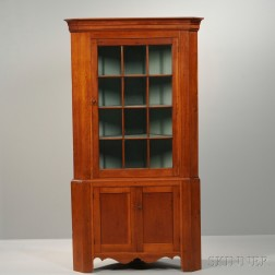 Federal Carved and Glazed Cherry Two-part Corner Cupboard