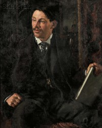 Boston School, 19th/20th Century      Portrait of a Seated Gentleman in a Polka-dot Cravat