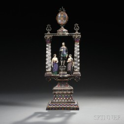 Silver, Enamel, and Rock Crystal Figural Architectural Clock