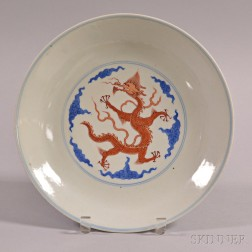 Blue and Red Dragon Plate