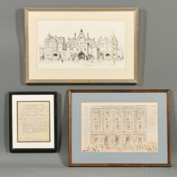 Framed Massachusetts Medical Ephemera and Four Framed Medical-related   Etchings or Drawings