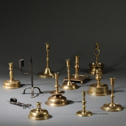 Ten Early Brass Candlesticks and Wrought Iron Rush Light and Candle Snuffer