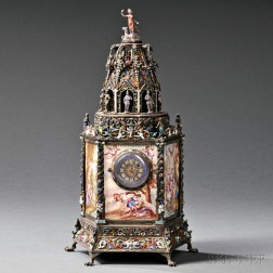 Viennese Silver and Enamel Tower-form Timepiece