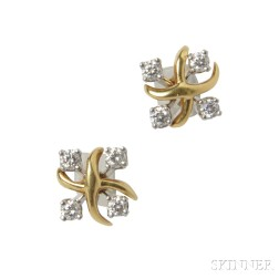 "Platinum, 18kt Gold, and Diamond ""Lynn"" Earrings, Schlumberger for Tiffany & Co."