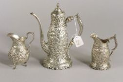 Three Piece Assembled Sterling Repousse Demitasse Set