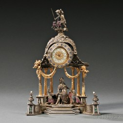 Viennese Silver, Gilt-metal, Enameled, and Jeweled Architectural Clock
