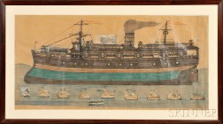 Large Framed Wax Crayon, Pencil, and Decoupage on Paper View of a Steamship