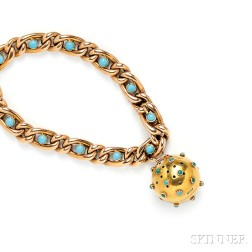 Victorian 15kt Gold and Turquoise Vinaigrette