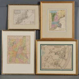 New England, New York, New Jersey, and Pennsylvania, Four Maps.