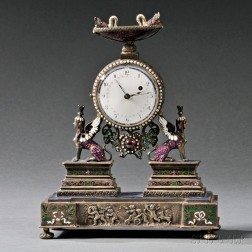 Viennese Silver, Enamel, Jeweled, and Lapis Lazuli Clock