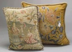 Four Gros and Petit Point Needlework Pillows