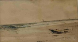 Samuel A. Mulholland (British, 19th/20th Century)      Coastal Scene with Distant Lighthouse.