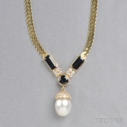 14kt Gold, South Sea Pearl, Sapphire, and Diamond Necklace