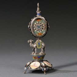 Viennese Silver and Enamel Camel-form Clock