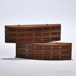Mahogany Cribbage Board, probably England, 19th century, the slightly arched carved and beaded form with six rows of holes slides to se