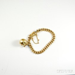 18kt Gold Curb Link Bracelet and Earth Charm