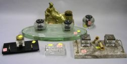 Six Assorted Glass, Marble, and Cast Bronze Inkstands.