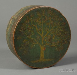 Painted Covered Wooden Box with Tree Motif