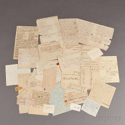 Archive of Approximately Twenty-five Documents, Signatures, and other Paper Ephemera, 17th, 18th, and 19th Century.