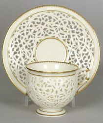 Grainger & Co. Worcester Porcelain Reticulated Cup and Saucer