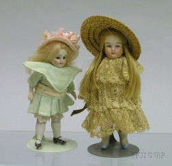 Two All-Bisque Doll House Dolls