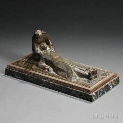 French School, 20th Century       Bronze Figure of a Nun Comforting a Wounded Soldier