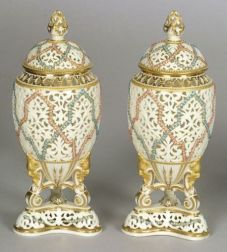 Pair of Grainger & Co. Worcester Porcelain Reticulated Vases and Covers