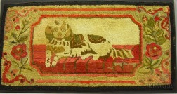 Recumbent Spaniel and Floral Pattern Hooked Rug