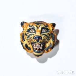 14kt Gold, Enamel, and Diamond Antique Tiger Brooch