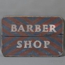 "Painted Wooden ""BARBER SHOP"" Trade Sign"