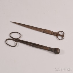 Two 18th Century Wrought Iron Scissors-form Tools