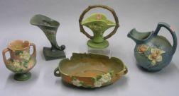 Five Pieces of Roseville Pottery