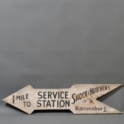 Painted Wooden Service Station Trade Sign