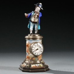 Viennese Silver, Enamel, and Freshwater Pearl Figural Clock