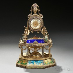 Continental Silver, Gilt-metal, Enamel, and Jeweled Fountain-form Clock