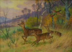 Georges Frederic Rötig (French, 1873-1961)      Deer and Pheasant.