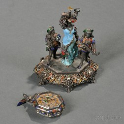 Viennese Silver, Enamel, and Rock Crystal Clock