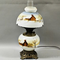 Bridgeport Duplex Hand-painted Porcelain and Metal Fluid Lamp