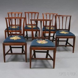 Set of Six Federal Carved Cherry Side Chairs
