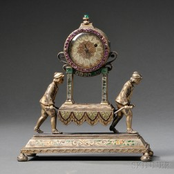 Viennese Silver, Gilt-metal, Enamel, Jeweled, and Lapis Lazuli Clock