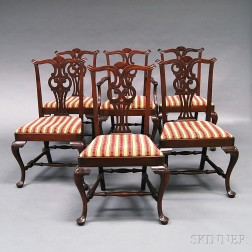 Set of Six Chippendale-style Mahogany Dining Chairs