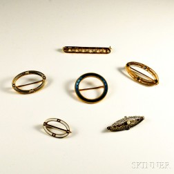 Six 14kt Gold Brooches