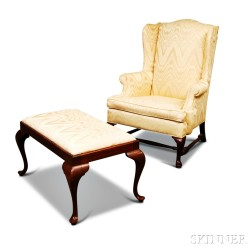 Queen Anne-style Upholstered Mahogany Wing Chair and Ottoman.     Estimate $60-80