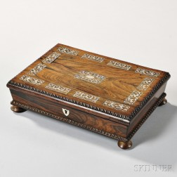 Rosewood Mother-of-pearl-inlaid Game Box