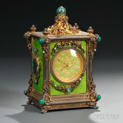 Continental Gilt-metal, Guilloche Enameled, and Jeweled Musical Clock