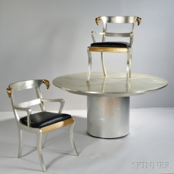 Contemporary Pedestal Dining Table with Armchairs