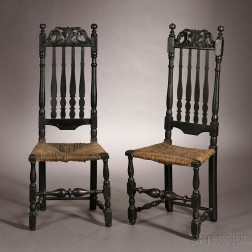 Pair of Carved Black-painted Banister-back Side Chairs