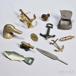 Group of Gentlemans Items, late 19th and 20th century, including bottle openers in the forms of a duck head, a fish, and an anchor, an