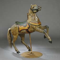 Carved and Painted Prancing Appaloosa Carousel Horse