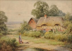 British School, 19th/20th Century      Three Watercolors of Village Scenes    Albert Caussin, Donkey Cart by Row Houses